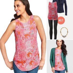 CAbi 127 Pink Printed Jubilee Sleeveless Top (M)